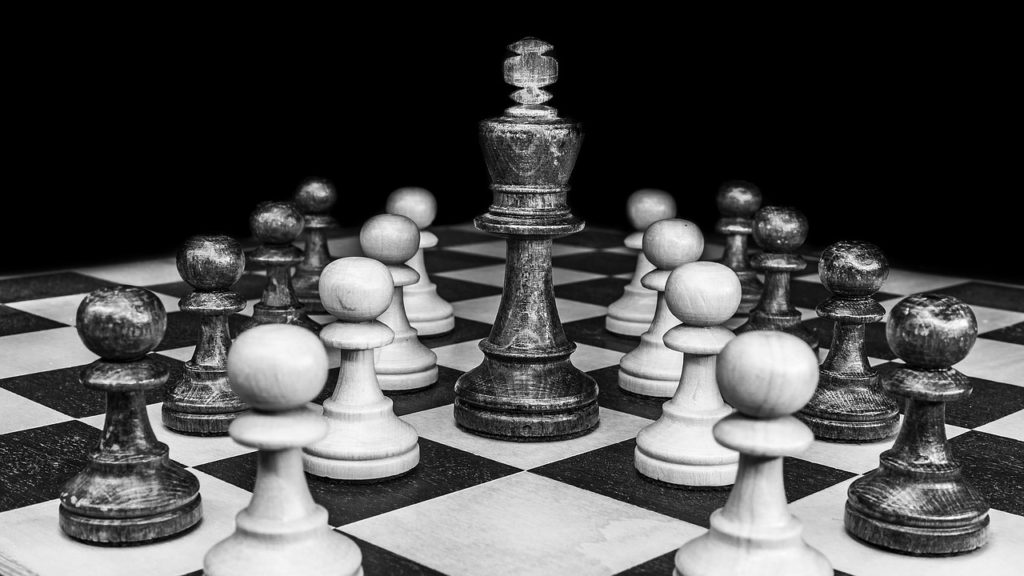 Black and White Photo of Chess